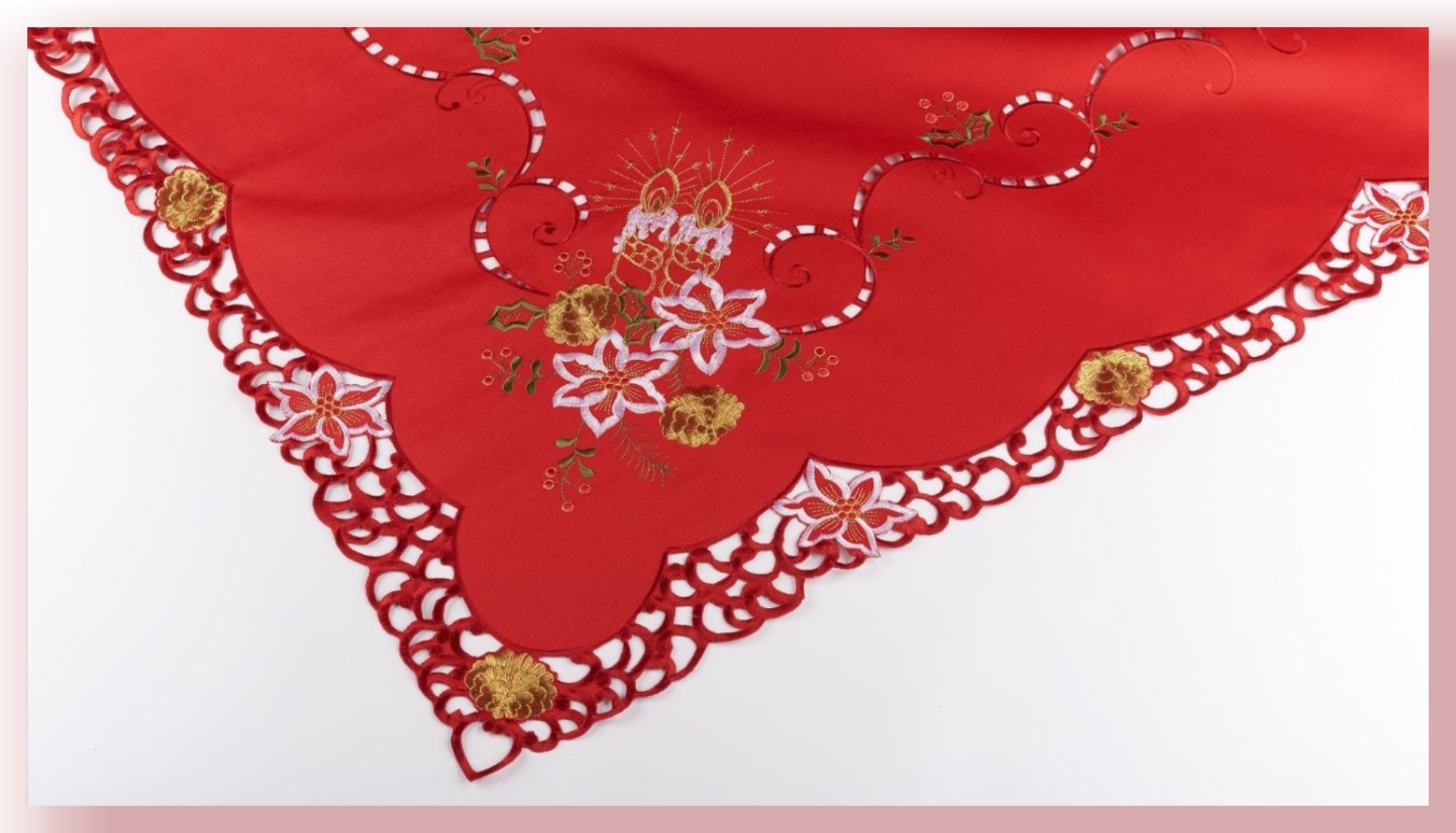red woven table cloth framed